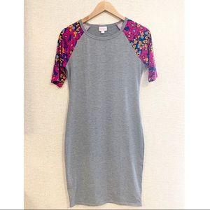 Adorable LuLaRoe grey/flower sleeve  dress Sz S